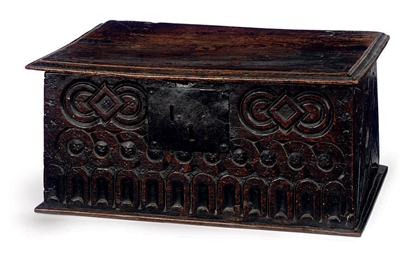 A CHARLES II OAK AND ELM BOX