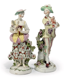 A PAIR OF DERBY FIGURES OF A G