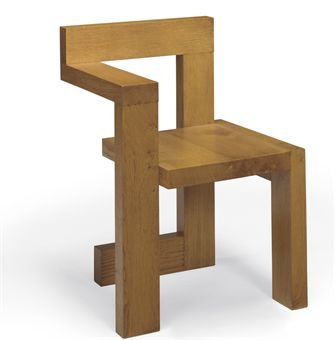 Gerrit thomas rietveld 1888 1964 an oak 39 steltman for Chaise zig zag