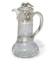 A VICTORIAN SILVER-MOUNTED ETCHED GLASS CLARET JUG