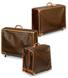 THREE MONOGRAM SUITCASES