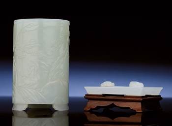 A WHITE JADE BRUSHPOT AND AN I