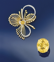 A citrine and diamond brooch a