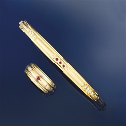 A diamond and ruby bangle, by