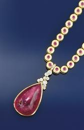 A ruby necklace and bracelet;