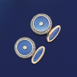 A pair of enamel and diamond c