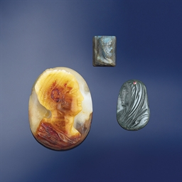 Three hardstone cameos