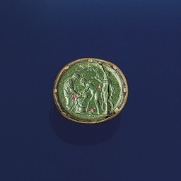 An 18th century gold fob seal with 16th century bloodstone i...
