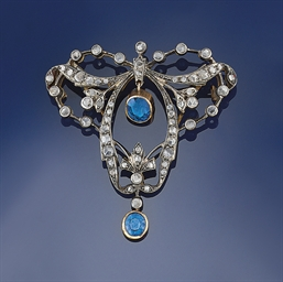 An Art Nouveau diamond and sap