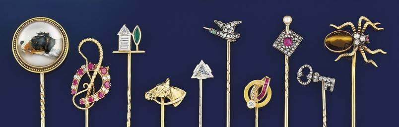 A group of ten stickpins
