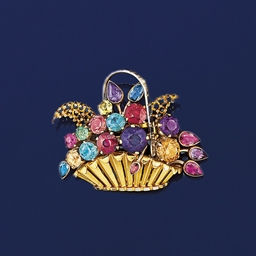A multi-gem two colour brooch