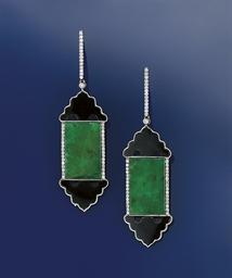 A pair of jadeite jade, diamon