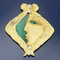 A diamond and malachite brooch, by Georges Weil