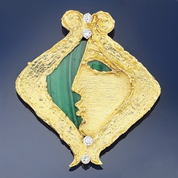A diamond and malachite brooch
