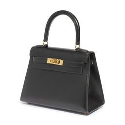 A BLACK BOX CALF 'KELLY' BAG