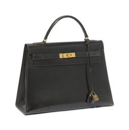 BLACK LEATHER 'KELLY' BAG