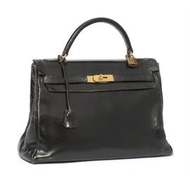 A BLACK 'KELLY' BAG
