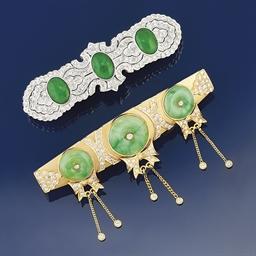 Two jadeite jade and diamond h