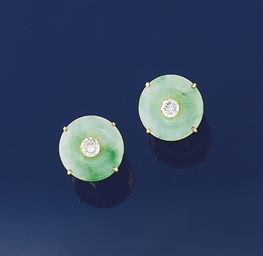 A pair of jadeite jade and dia