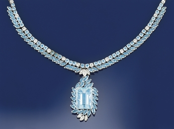An aquamarine and diamond neck