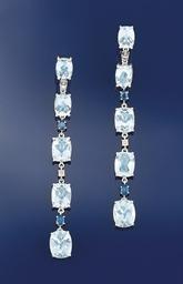 A pair of aquamarine, diamond
