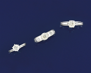 A group of three diamond singl