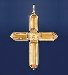A topaz cross pendant