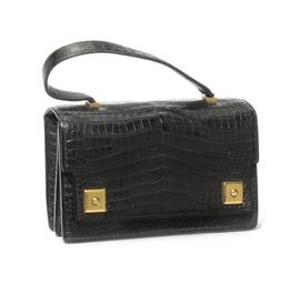 A BLACK CROCODILE 'PIANO' BAG