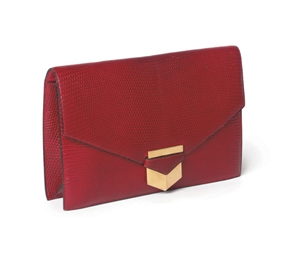 A CHERRY RED LIZARD POCHETTE