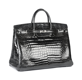 A BLACK CROCODILE 'BIRKIN' BAG