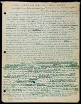 """BRETON, André (1896-1966). Vie Légendaire de Max Ernst précédée d'une brève discussion sur le besoin d'un nouveau mythe. Manuscrit autographe signé """"André Breton"""" et daté de """"N[ew] Y[ork], 26 février 1946""""."""