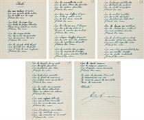 ÉLUARD, Paul (1895-1952). Liberté. Poème autographe signé, encre sur papier ligné, 5 feuillets (236 x 193 mm), encadré.