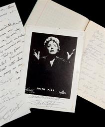 PIAF, Édith (1915-1963). Texte