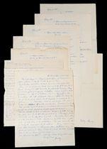 """CENDRARS. Séquences. Manuscrit autographe signé """"Freddy"""". Entre mai et novembre 1911. 19 pages sur 10 feuillets in-4 (278 x 218 mm), dans une chemise de papier avec la signature autographe """"Freddy Sausey"""". Encre bleue."""