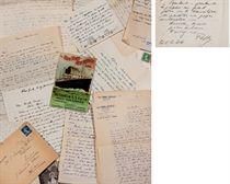 """CENDRARS. Réunion de 379 lettres et cartes postales, dont 371 lettres autographes signées (""""Freddy"""", """"Ton Freddy"""", """"Blaise"""", """"Blaise Cendrars"""", """"ma main amie Blaise"""", etc.) et 8 lettres dactylographiées, adressées à son frère, Georges Sauser-Hall (1884-1966), quelques unes à sa belle-soeur Agnès et une à son père, entre octobre 1904 et août 1960. À cet ensemble s'ajoutent 9 POÈMES DE JEUNESSE INÉDITS."""
