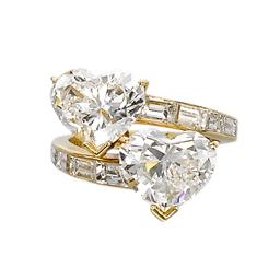 A 'TOI ET MOI' DIAMOND RING, B