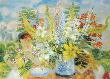 Deux enfants au bouquet (Two c