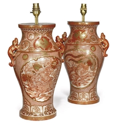 A PAIR OF JAPANESE KUTANI LAMP