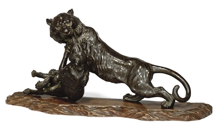 A JAPANESE BRONZE TIGER AND WO