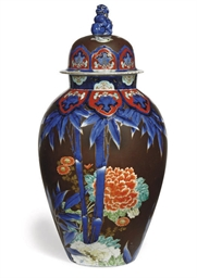 A JAPANESE BALUSTER VASE AND C