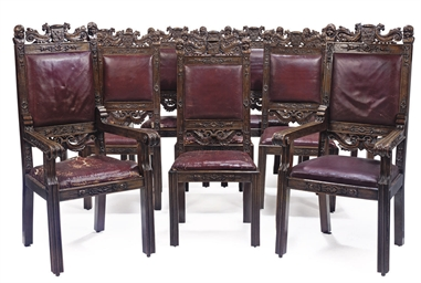 A SET OF TEN SPANISH CARVED WA