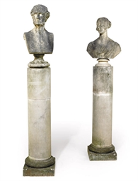 A PAIR OF MARBLE BUSTS BELIEVE