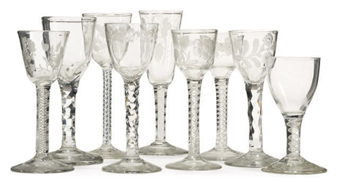 THREE FACET-STEMMED WINE GLASS