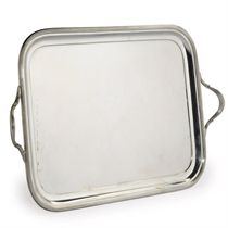 AN EDWARDIAN SILVER TWO-HANDLED TRAY