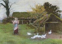 The goose girl lost in reverie