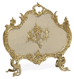 A FRENCH BRASS FIRE-SCREEN