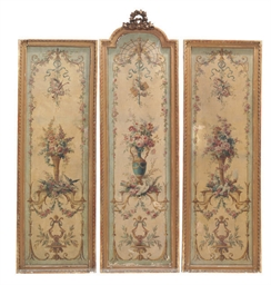 A FRENCH TRIPTYCH OF GILT-FRAM