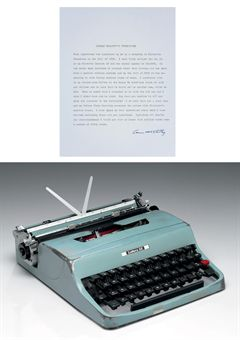 [McCARTHY, Cormac] (1933 - ). McCarthy's Olivetti manual typewriter (serial no. 2143668), ON WHICH HE TYPED ALL OF HIS WORK FROM 1958 TO 2009. 12½ x 10.14 x 3½in., with original blue carrying case.  [WITH:] McCARTHY. Typed document signed (Cormac McCarthy), n.d. [October 2009], titled Cormac McCarthy's Typewriter, authenticating his ownership of the typewriter.