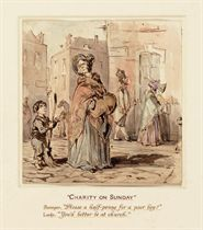 """THACKERAY, William Makepeace (1811-1863). """"Charity on Sunday."""" Original watercolor drawing of a lady and a sweeper, unsigned. Sheet size: 131 x 130 mm (5¼ x 5/1/4 in.). INSCRIBED BY THACKERAY on verso: """"Charity on Sunday. Sweeper. 'Please a half-penny for a poor boy?' Lady. 'You'd better be at church.'"""" Tipped on to mat and bound in full red morocco gilt, titled in gilt on front cover."""