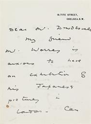 WILDE, Oscar. Autograph letter